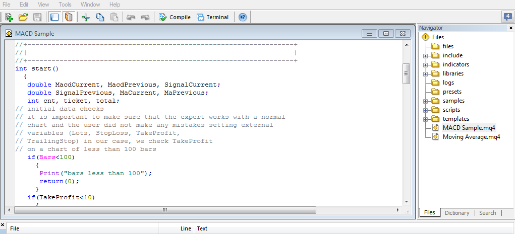 MetaEditor screenshot